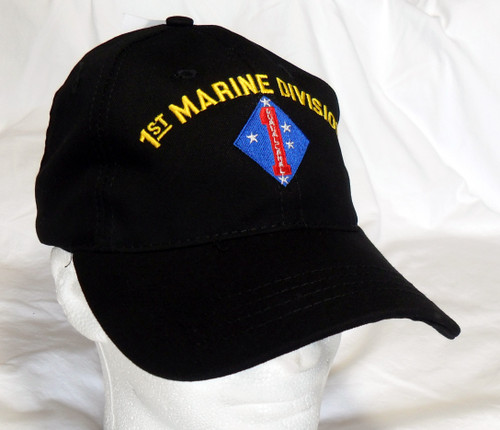 USMC United States Marines 1st Marine Division Made In USA Black Military Hat Baseball Cap