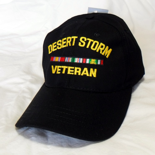 Desert Storm Veteran Made In USA Black Military Hat Baseball Cap