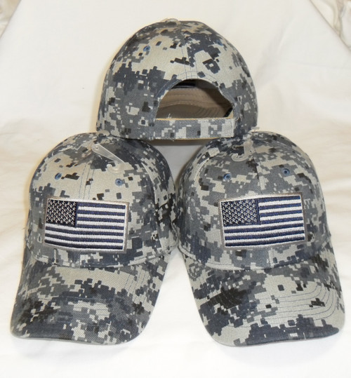 3 Pack Navy Digital Camo USA American Flag Tactical Baseball Cap Hat