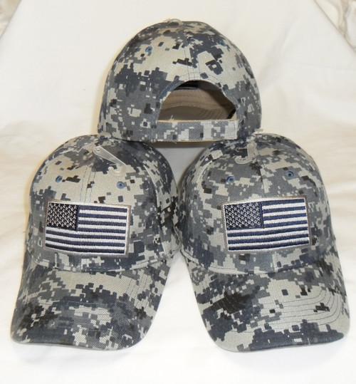 3 Pack Navy Digital Camo USA American Flag Tactical Baseball Cap Hat