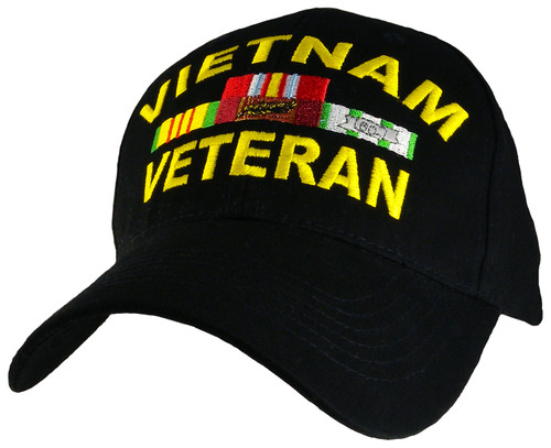 Vietnam Veteran With Ribbons Black Miltary Hat Baseball Cap (You Are Appreciated)