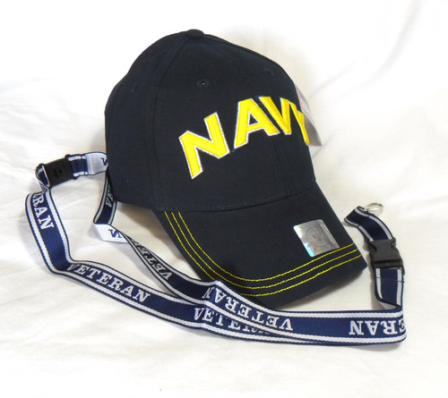 U.S. Navy Hat with Lanyard Gold Navy Logo Officially Licensed Baseball Cap Hat