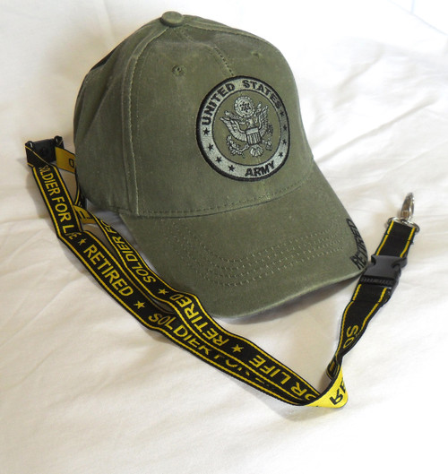 US ARMY RETIRED and Lanyard- U.S. Army with Army Seal Officially Licensed Baseball Cap Hat