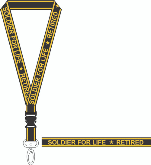 United States Army Retired Soldier For Life Military LANYARD with quick release and Key Clasp