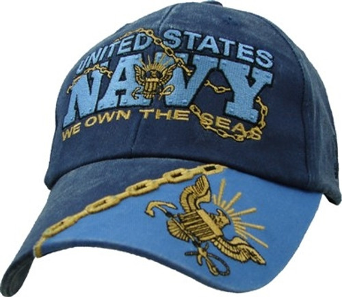 U.S. Navy WE OWN THE SEAS Washed Look with Insignia Baseball Cap Hat
