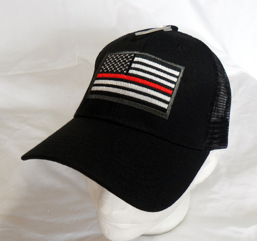 Thin Red Line Black Mesh US American Flag Patch Baseball Hat Cap(Respect Those That Serve)