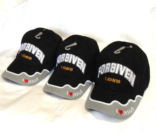3 Pack FORGIVEN 1John 1:9 CHRISTIAN HAT BASEBALL CAP