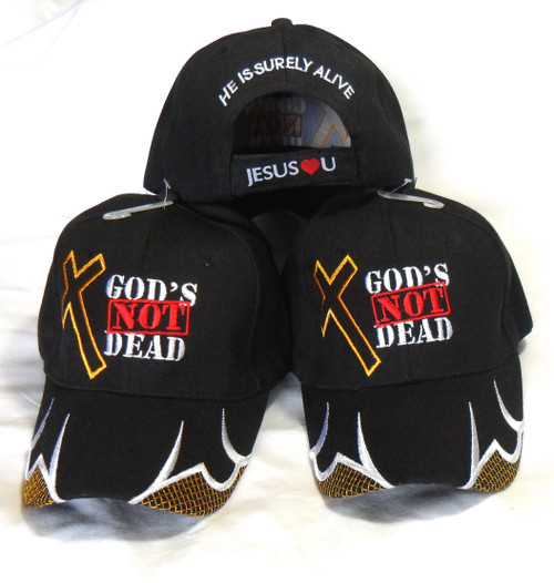 3 Pack GOD IS NOT DEAD HE IS SURELY ALIVE CHRISTIAN HAT BASEBALL CAP Isaiah 40:28
