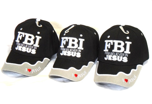 3 Pack  Black F.B.I. Firm Believer In Jesus Christian  Hat Baseball Cap