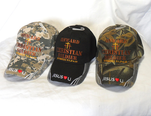Onward Christian Soldier Christian  Hat Baseball Cap 2 Timothy 2:1, 3-4, 10