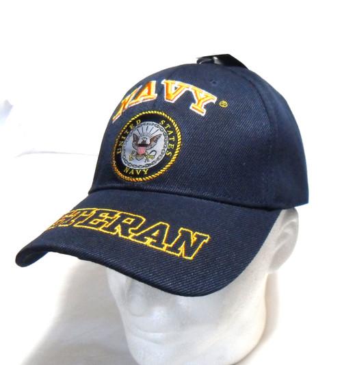 U.S. Navy Veteran Navy Blue Bold Lettering Officially Licensed Baseball Cap Hat