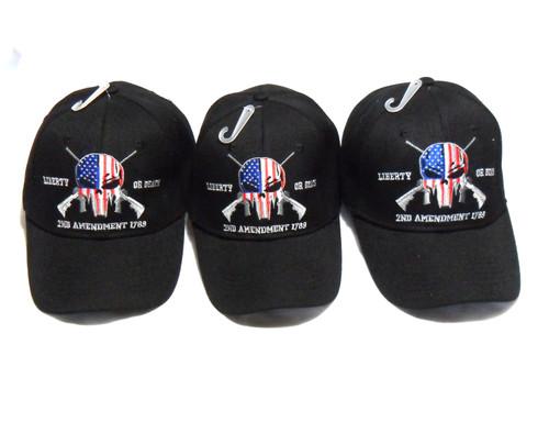 3 Pack Black Punisher 2nd Amendment Hat Liberty or Death Baseball Cap Hat