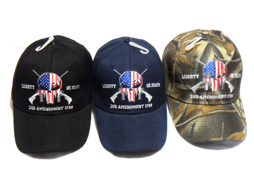 3 Pack MIX Punisher 2nd Amendment Hat Liberty or Death Baseball Cap Hat