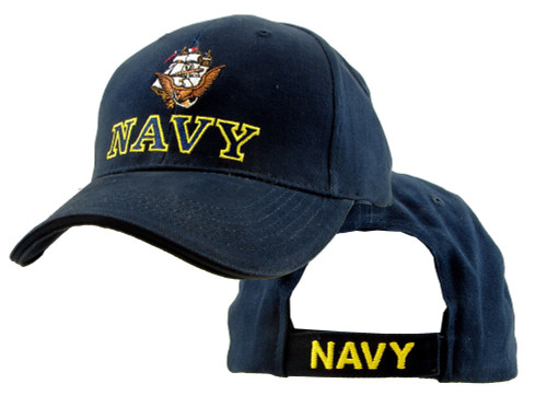 U.S. Navy with Navy Logo and Ship Navy Blue Officially Licensed Baseball Cap Hat