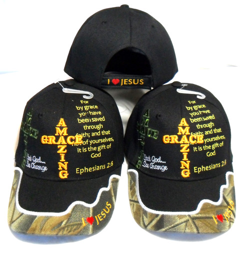3 Pack  Black Amazing Grace Christian  Hat Baseball Cap