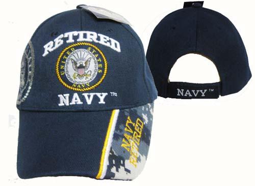 U.S. Navy Retired Navy Blue Bold Lettering Officially Licensed Baseball Cap Hat