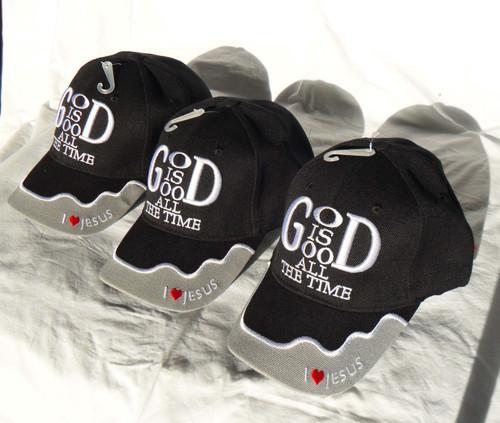 3 Pack Black GOD IS GOOD ALL THE TIME Christian Hat Baseball Cap Show Your Faith