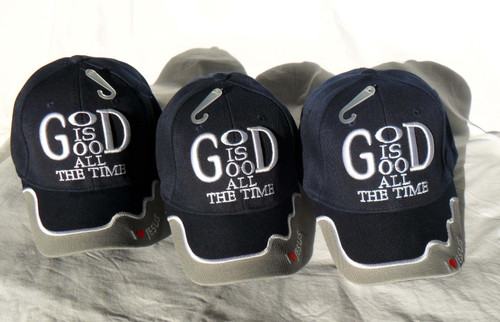 3 Pack Blue GOD IS GOOD ALL THE TIME Christian Hat Baseball Cap Show Your Faith