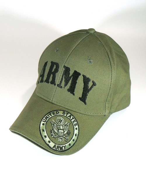 US ARMY With Seal Officially Licensed OD Green with Seal On Bill Baseball Cap Hat