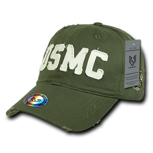 USMC UNITED STATES MARINES OFFICIALLY LICENSED Washed Look Military Hat Baseball Cap