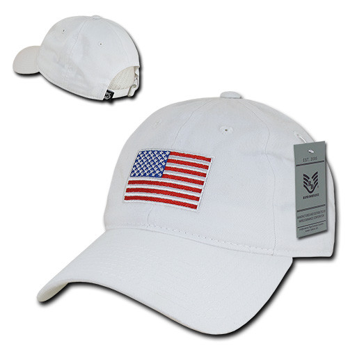 White with Red White & Blue  US American Flag United States America Polo Tonal Baseball Hat Cap