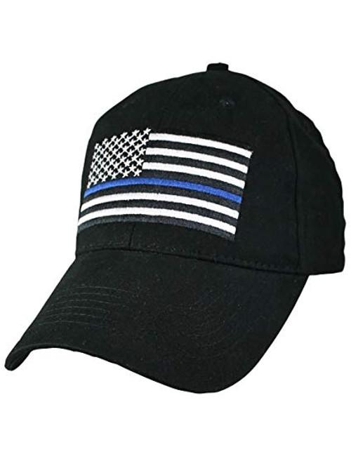 Thin Blue Line Black US American Flag  Baseball Hat Cap (Respect Those That Serve)