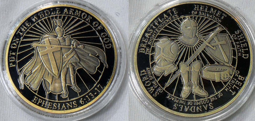 Put On The Whole Armor of God Challenge Coin Ephesians 6-13-17  Black and Bronze