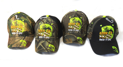 BORN to FISH Force to Work Hat Baseball Cap Great Bass Fishing Hat