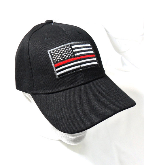 Thin Red Line Black US American Flag Patch Baseball Hat Cap(Respect Those That Serve)