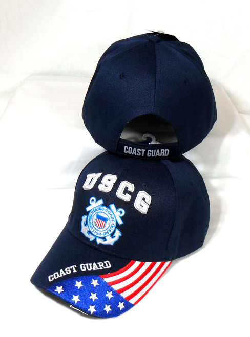 U.S. Coast Guard Embroidered Letters & Flag Officially Licensed Military Hat Ball Cap