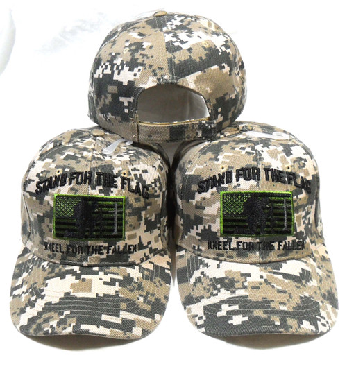 Stand For The Flag (3 Pack ACU) Kneel for the Fallen American Flag Tactical Baseball Hat Cap
