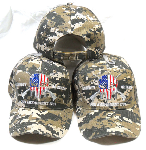 (3 Pack ACU) 2nd Amendment Punisher Hat Liberty or Death Baseball Cap Hat