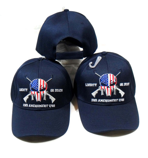 2nd Amendment Punisher (3 Pack Blue) Hat Liberty or Death Baseball Cap Hat