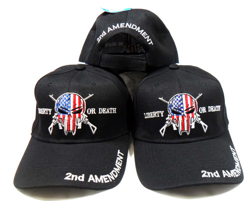 (3 Pack Black) Punisher 2nd Amendment Hat Liberty or Death Baseball Cap Hat