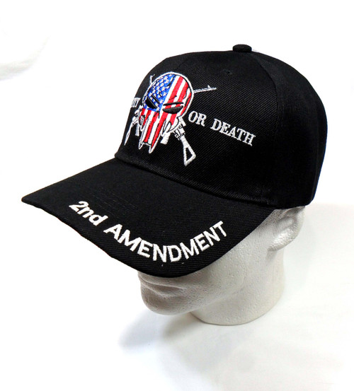Black Punisher 2nd Amendment Hat Liberty or Death Baseball Cap Hat