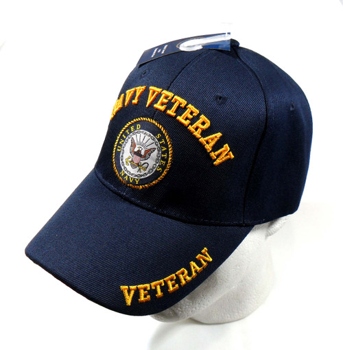 U.S. Navy Veteran With Shadow Bold Lettering Officially Licensed Baseball Cap Hat