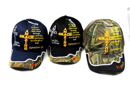 3 Pack  MIX Amazing Grace Christian  Hat Baseball Cap