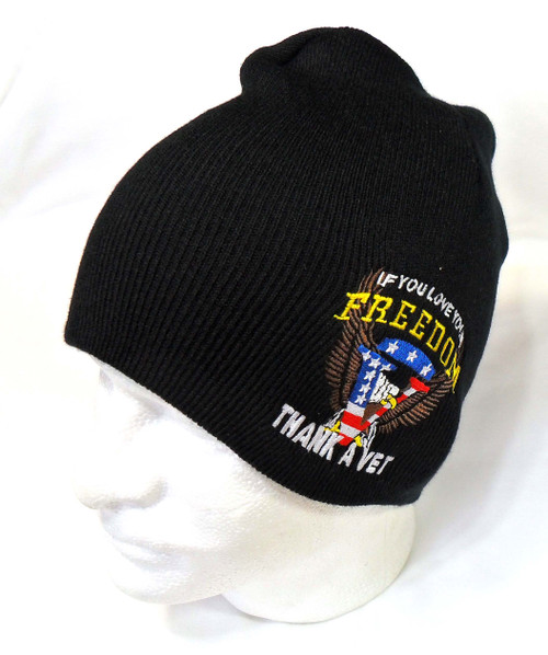 THANK A VETERAN FOR YOU FREEDOM Watch Cap Beanie Winter Ski Hat Toboggan