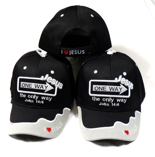 3 Pack Black ONE WAY JESUS (Says It all) John 14:6 Christian Hat Baseball Cap
