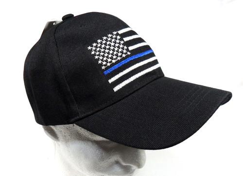 TBL Thin Blue Line Black US American Flag Patch Baseball Hat Cap (Respect Those That Serve)