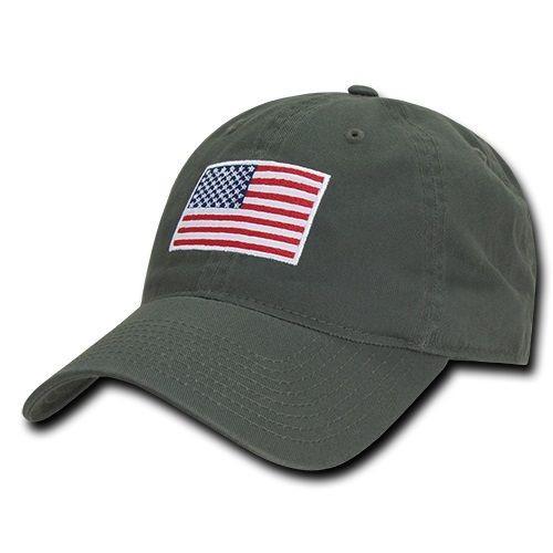 RWB Olive US American Flag United States America Polo Tonal Baseball Hat Cap