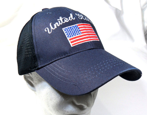 United States American Flag Blue Mesh Embroidered Baseball Cap Hat