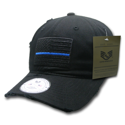 Vintage Thin Blue Line Black US American Flag Patch Relaxed Graphic Baseball Hat Cap