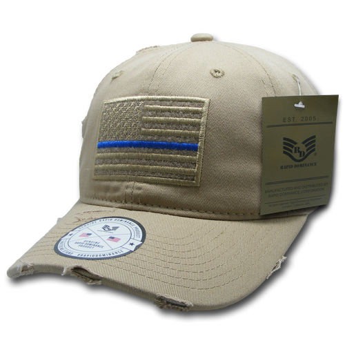 Vintage Thin Blue Line Khaki US American Flag Patch Relaxed Graphic Baseball Hat Cap