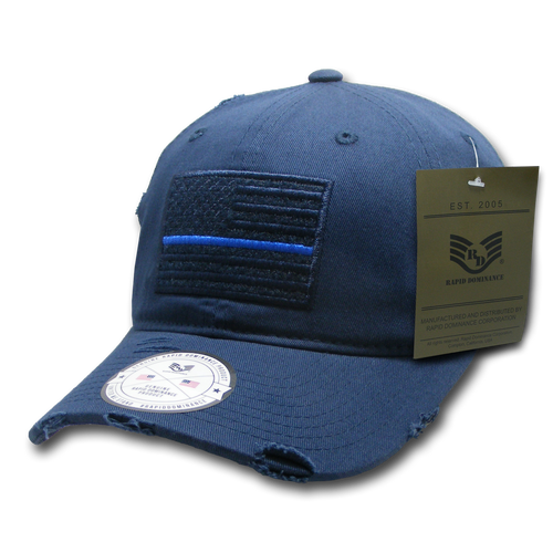 Vintage Thin Blue Line Navy US American Flag Patch Relaxed Graphic Baseball Hat Cap