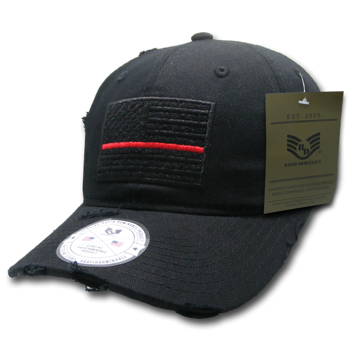 Vintage Thin Red Line Black US American Flag Patch Relaxed Graphic Baseball Hat Cap