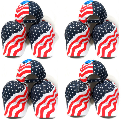 12 Pack Red White and Blue Stars and Stripes American Flag Patriotic Baseball Hat Cap