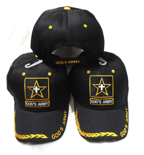 3 Pack GODS ARMY Black CHRISTIAN HAT BASEBALL CAP Great way to share your faith