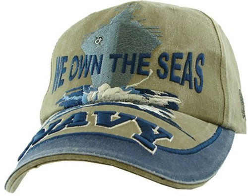 U.S. Navy WE OWN THE SEAS with Navy Ship Navy Blue Baseball Cap Hat