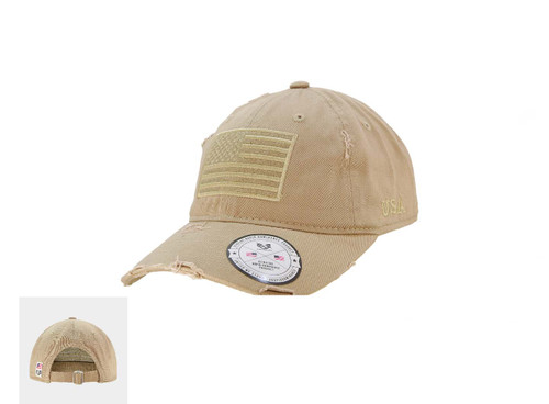 Vintage  Khaki US American Flag Patch Relaxed Graphic Baseball Hat Cap